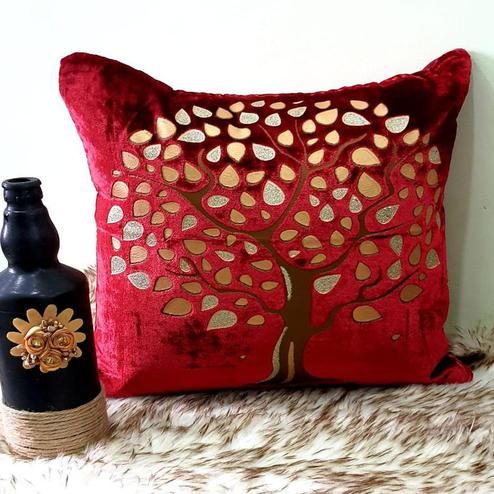 Adirav - Red Colored Cut Work Sparkle Cushion Covers - Set Of 5