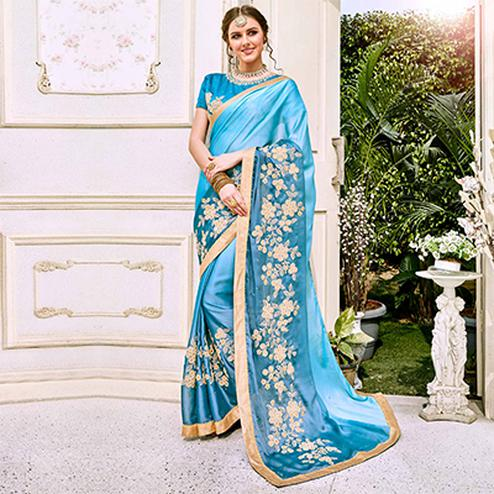Ravishing Blue Designer Embroidered Georgette Saree