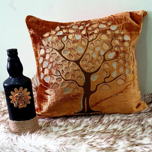 Adirav - Golden Colored Cut Work Sparkle Cushion Covers - Set Of 5