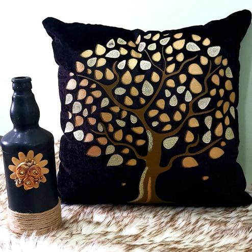 Adirav - Dark Brown Colored Cut Work Sparkle Cushion Covers - Set Of 5