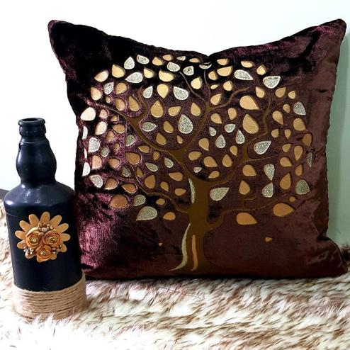 Adirav - Wine Colored Cut Work Sparkle Cushion Covers - Set Of 5