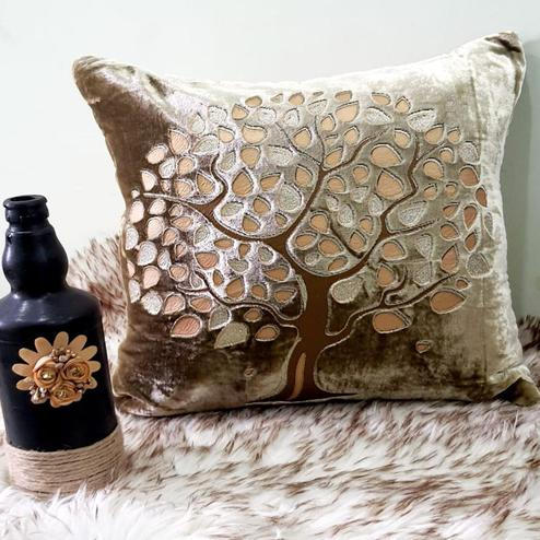 Adirav - Beige Colored Cut Work Sparkle Cushion Covers - Set Of 5