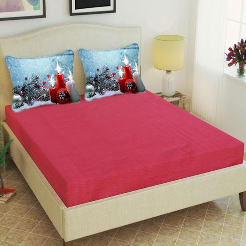 Adirav - Red Colored Printed Glace Cotton Double Bedsheet With 2 Pillow Cover