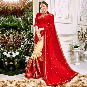 Charming Red And Beige Colored Designer Embroidered Georgette Saree