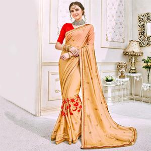 Lovely Beige Colored Designer Embroidered Georgette Saree