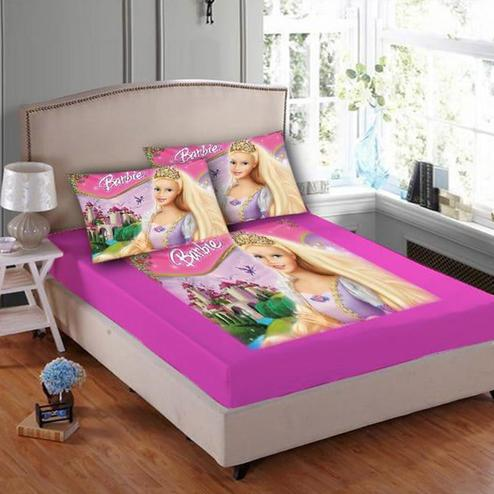 Adirav - Pink Colored Printed Double Velvet Bedsheet With 2 Pillow Cover