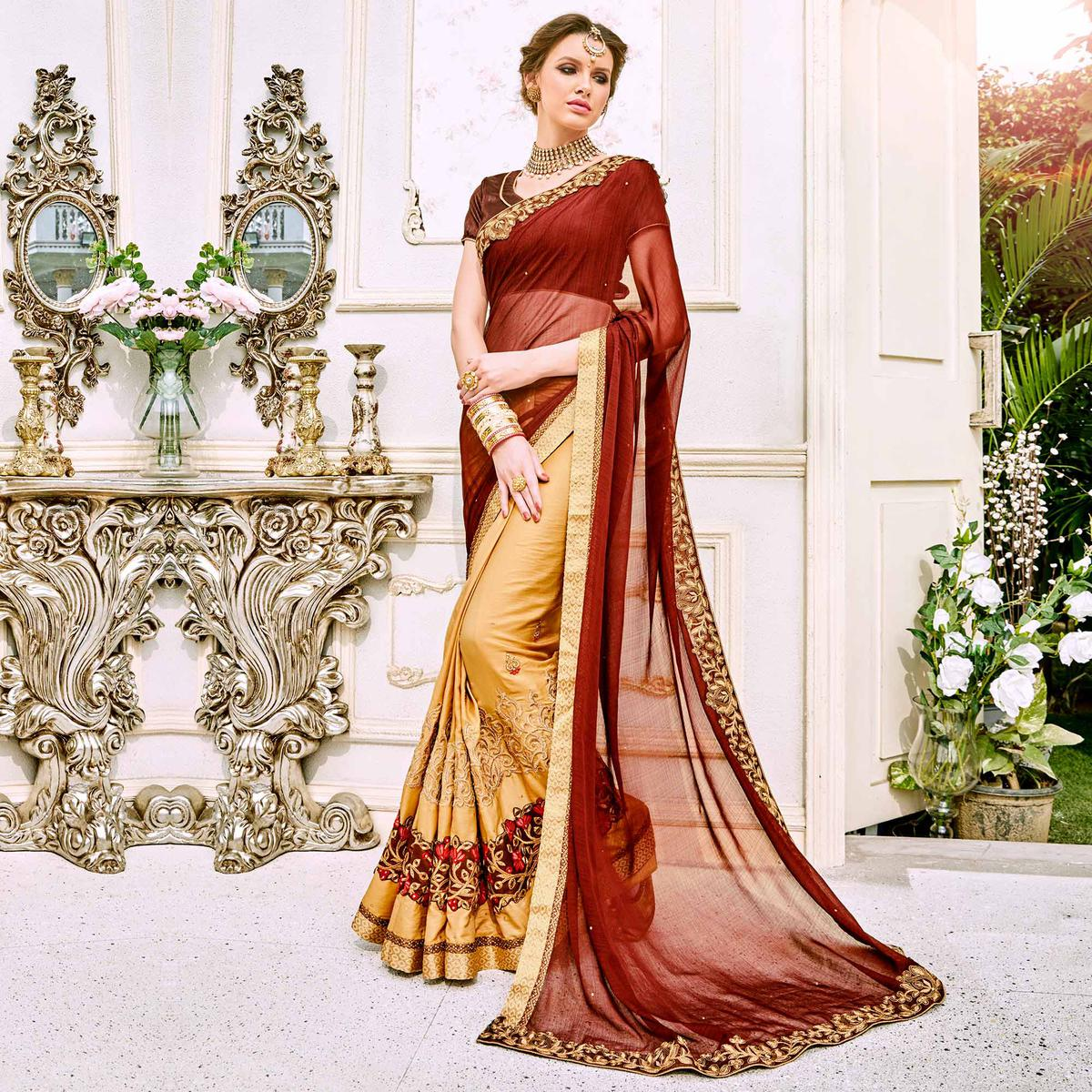 Graceful Brown And Beige Designer Embroidered Georgette Saree