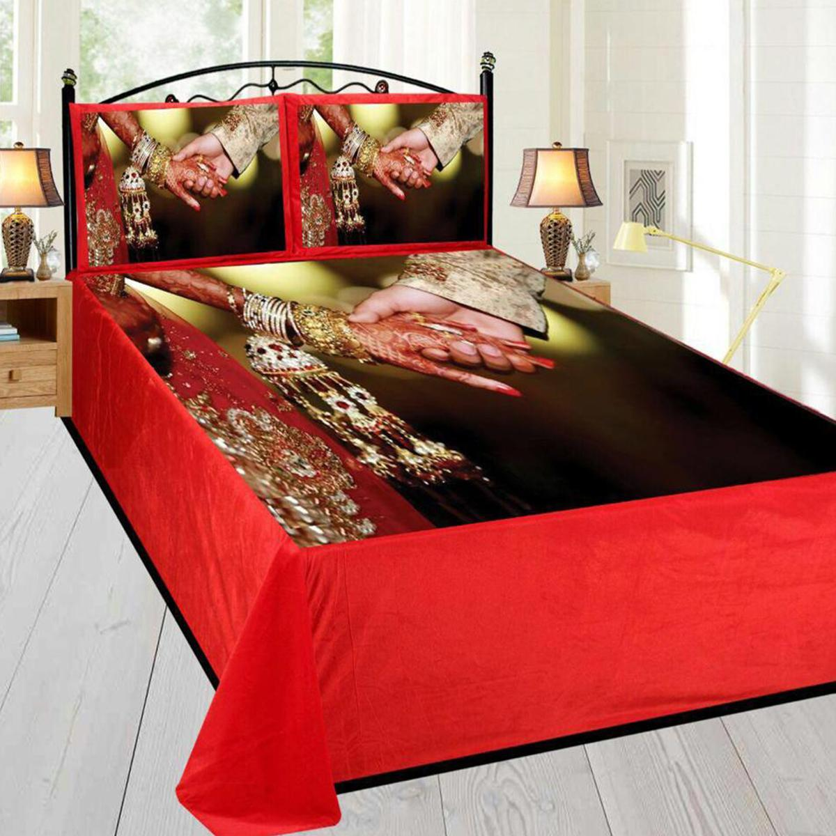 Adirav - Red Colored Printed Double Velvet Bedsheet With 2 Pillow Cover
