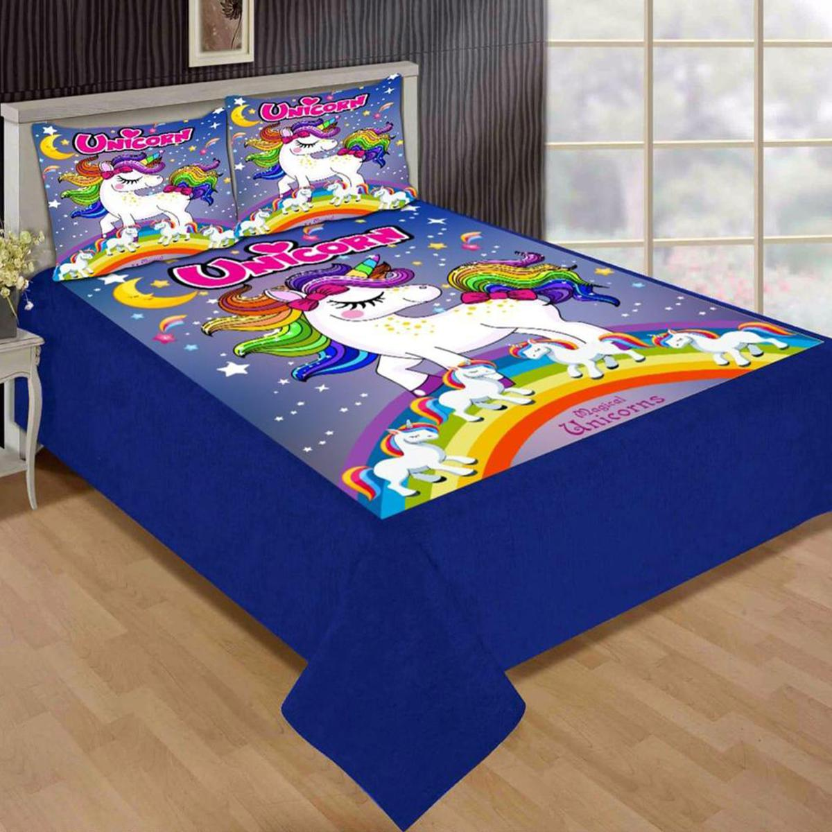 Adirav - Blue Colored Printed Double Velvet Bedsheet With 2 Pillow Cover