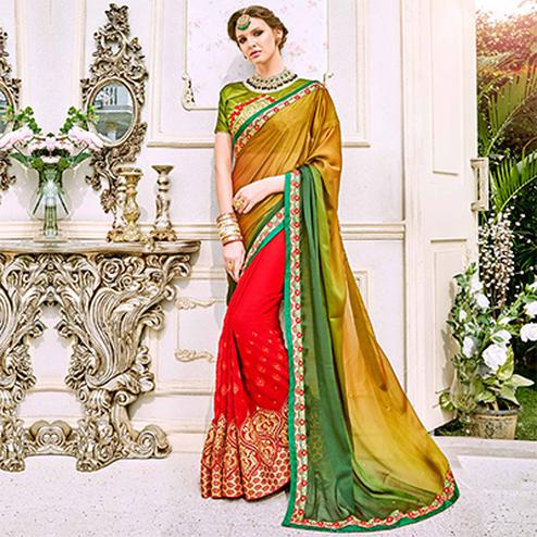 Mesmerising Multi Colored Designer Embroidered Georgette Saree