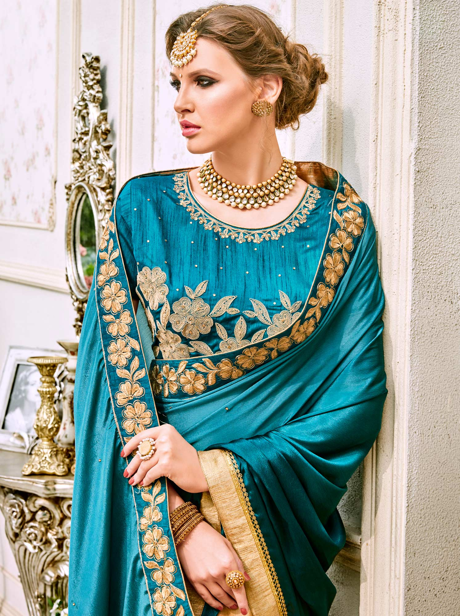 Gorgeous Blue-Beige Designer Embroidered Georgette Saree