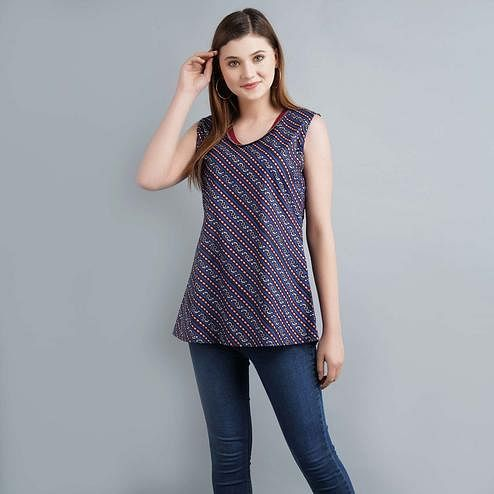 Darzaania - Blue Colored Casual Printed Cotton Top