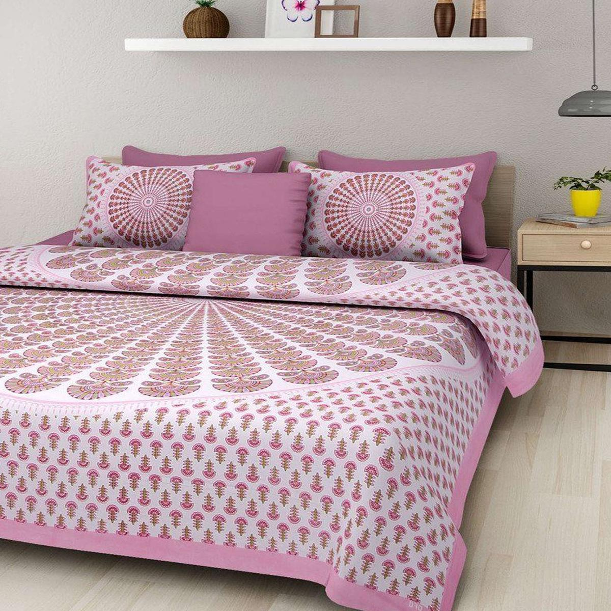 Zyla - Pink Colored Morpankh Printed Double Queen Cotton Bedsheet
