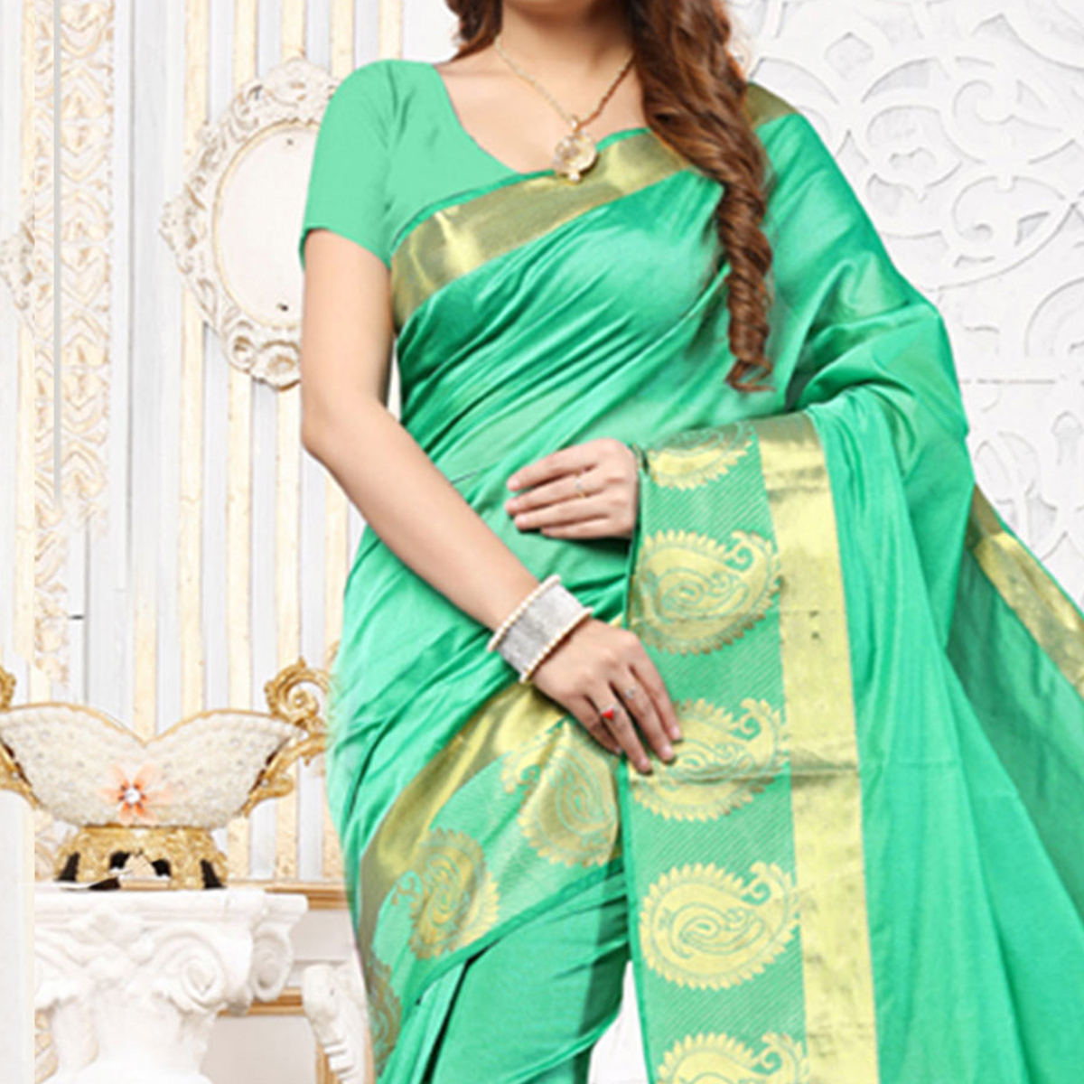 Firozi Green Weaving Work Silk Saree
