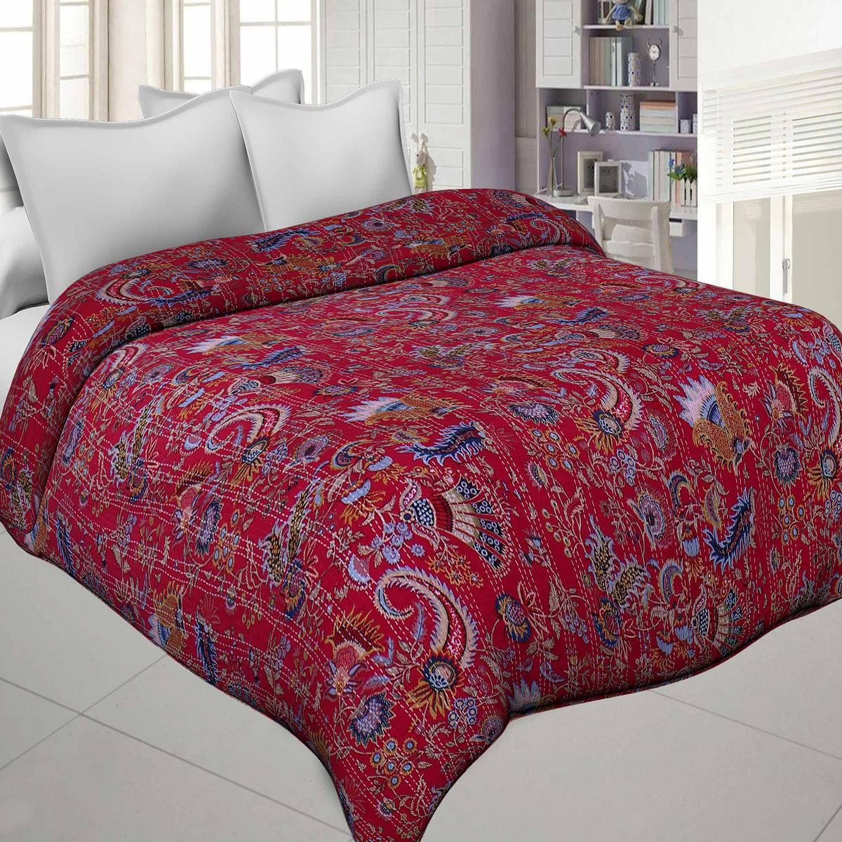 Graceful Red Colored Katha Work Double Size Comforters