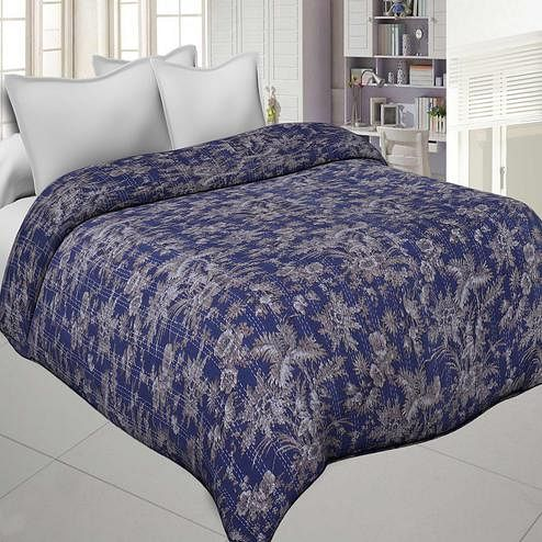 Innovative Purple Colored Katha Work Double Size Comforters