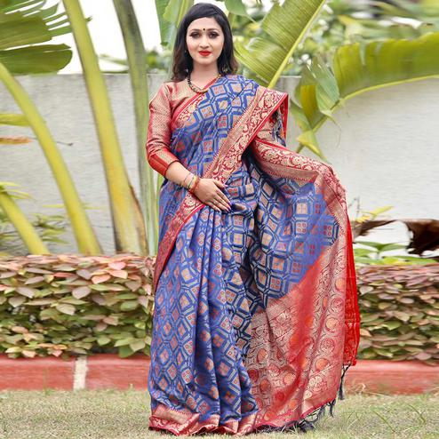 Trendy Blue Colored Festive Wear Woven Silk Saree