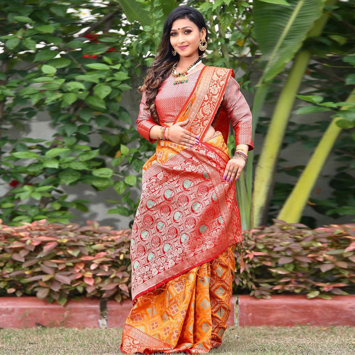 Radiant Mustard Yellow Colored Festive Wear Woven Silk Saree