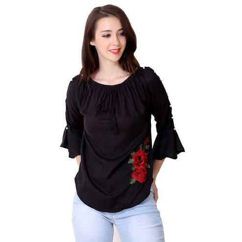 OMADAM - Black Colored Casual Solid Rayon Top