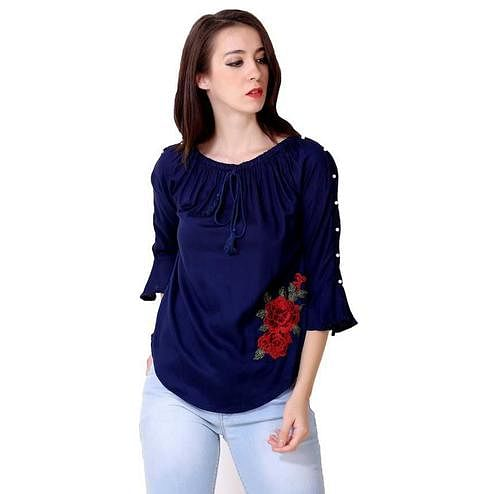 OMADAM - Blue Colored Casual Solid Rayon Top