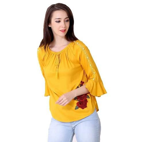 OMADAM - Yellow Colored Casual Solid Rayon Top