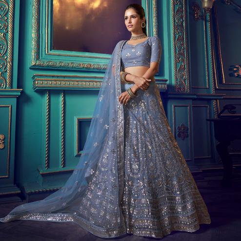 Mesmerising Grey Colored Partywear Embroidered Soft Net Lehenga Choli