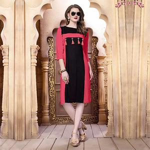 Red-Black Designer Casual Wear Pure Rayon Cotton Kurti