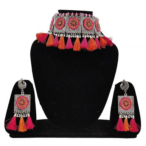 Zaffre Collections - Trendy Oxidized Silver Choker Set with Pink and Orange Tassels for Women and Girls
