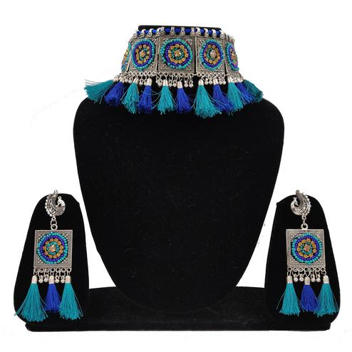 Zaffre Collections - Trendy Oxidized Silver choker Set with Blue Tassels for Women and Girls