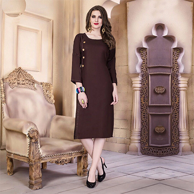 Brown Designer Casual Wear Pure Rayon Cotton Kurti