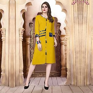 Yellow Designer Casual Wear Pure Rayon Cotton Kurti