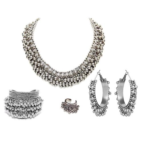 Zaffre Collections - Oxidised Silver Neckalce Set with Bangle, Ring and Earrings for Women and Girls
