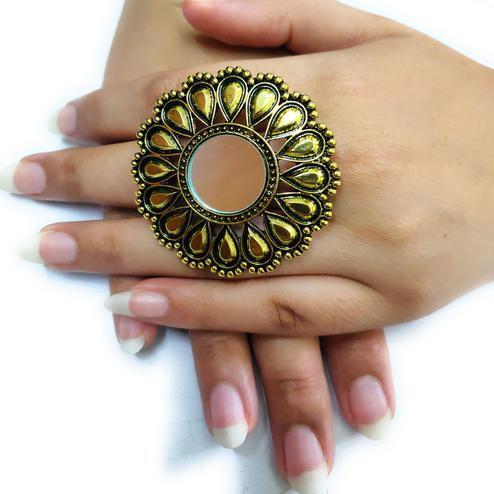 Zaffre Collections - Big Size Round Oxidised Gold with Mirror Adjustable ring for Women