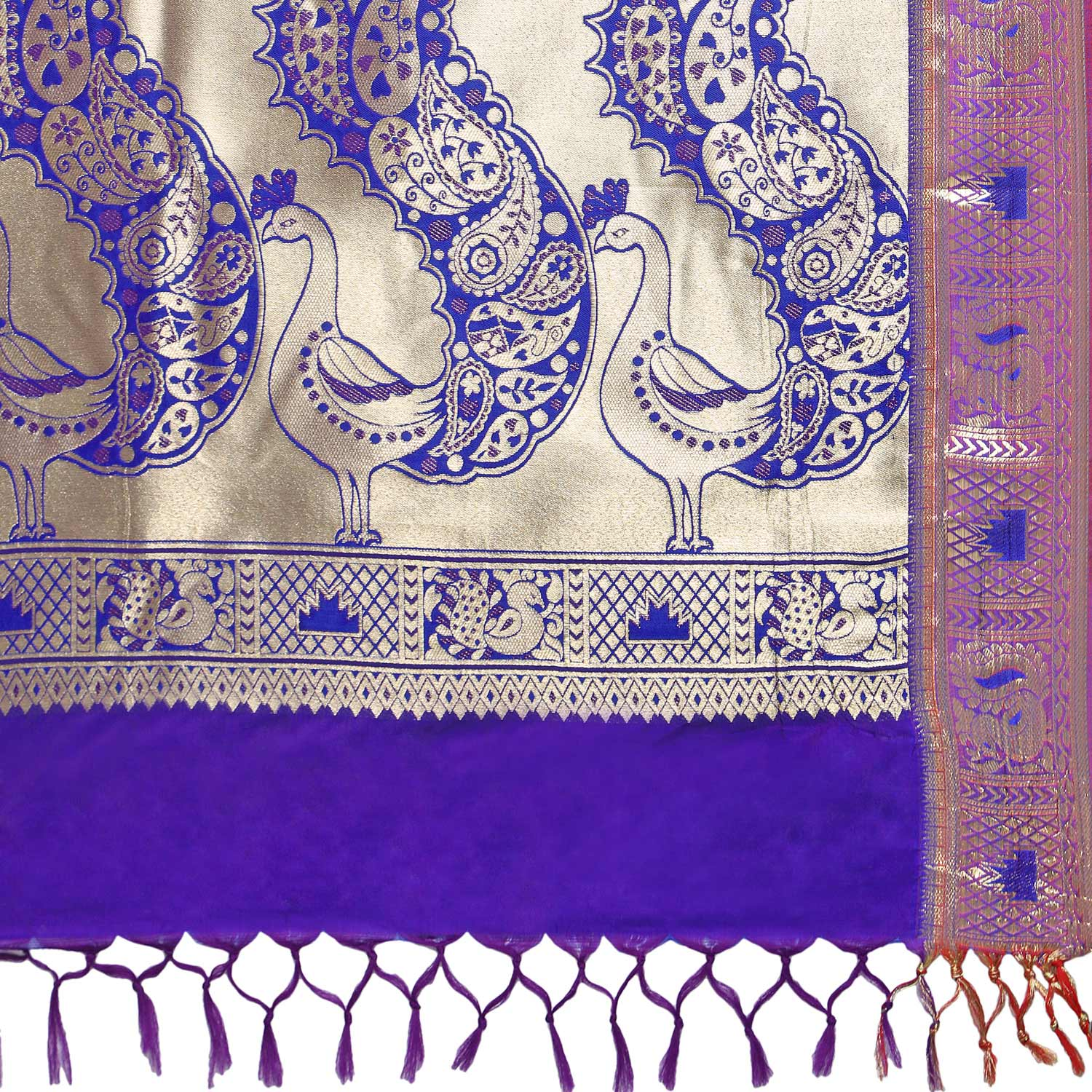 Royal Blue - Violet Art Silk Woven Saree
