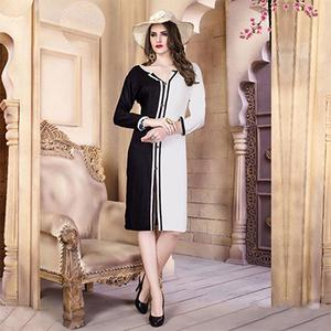 White-Black Designer Casual Wear Pure Rayon Cotton Kurti