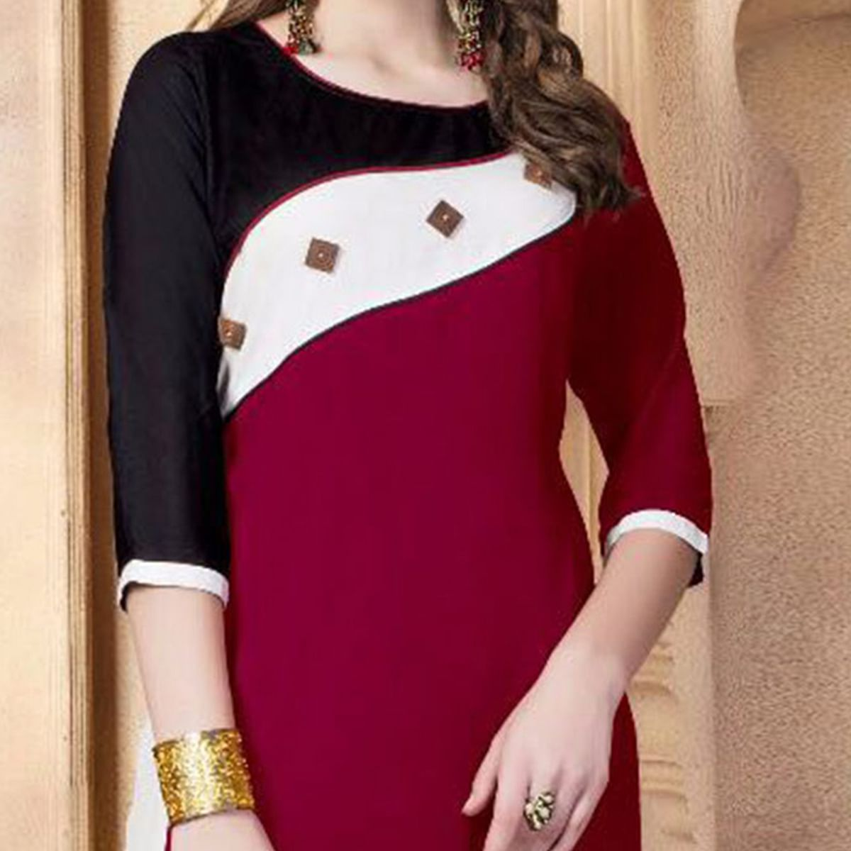 Maroon Designer Casual Wear Pure Rayon Cotton Kurti