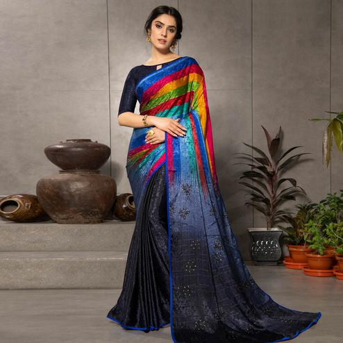 Opulent Multi Colored Partywear Printed Silk Crape Saree