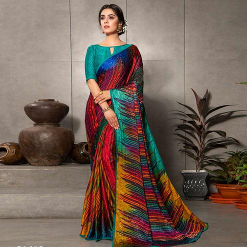 Energetic Red - Multi Colored Partywear Printed Silk Crape Saree