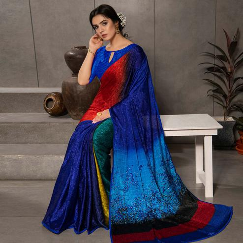 Glowing Blue - Multi Colored Partywear Printed Silk Crape Saree