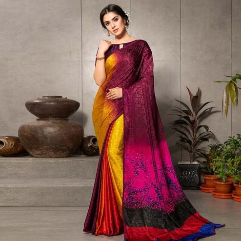 Exceptional Yellow - Multi Colored Partywear Printed Silk Crape Saree