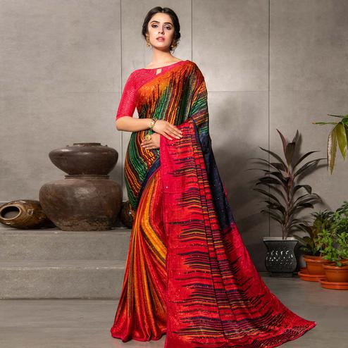 Gleaming Multi Colored Partywear Printed Silk Crape Saree