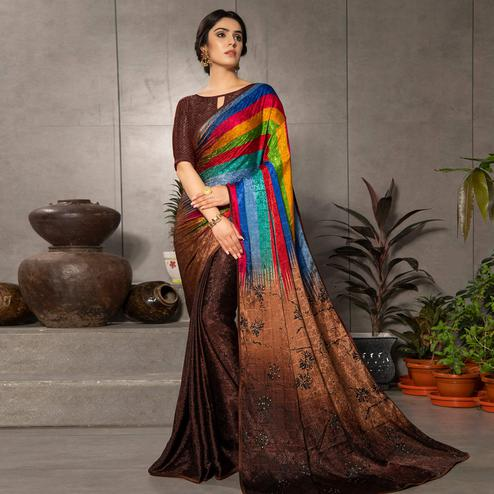 Mesmeric Brown - Multi Colored Partywear Printed Silk Crape Saree