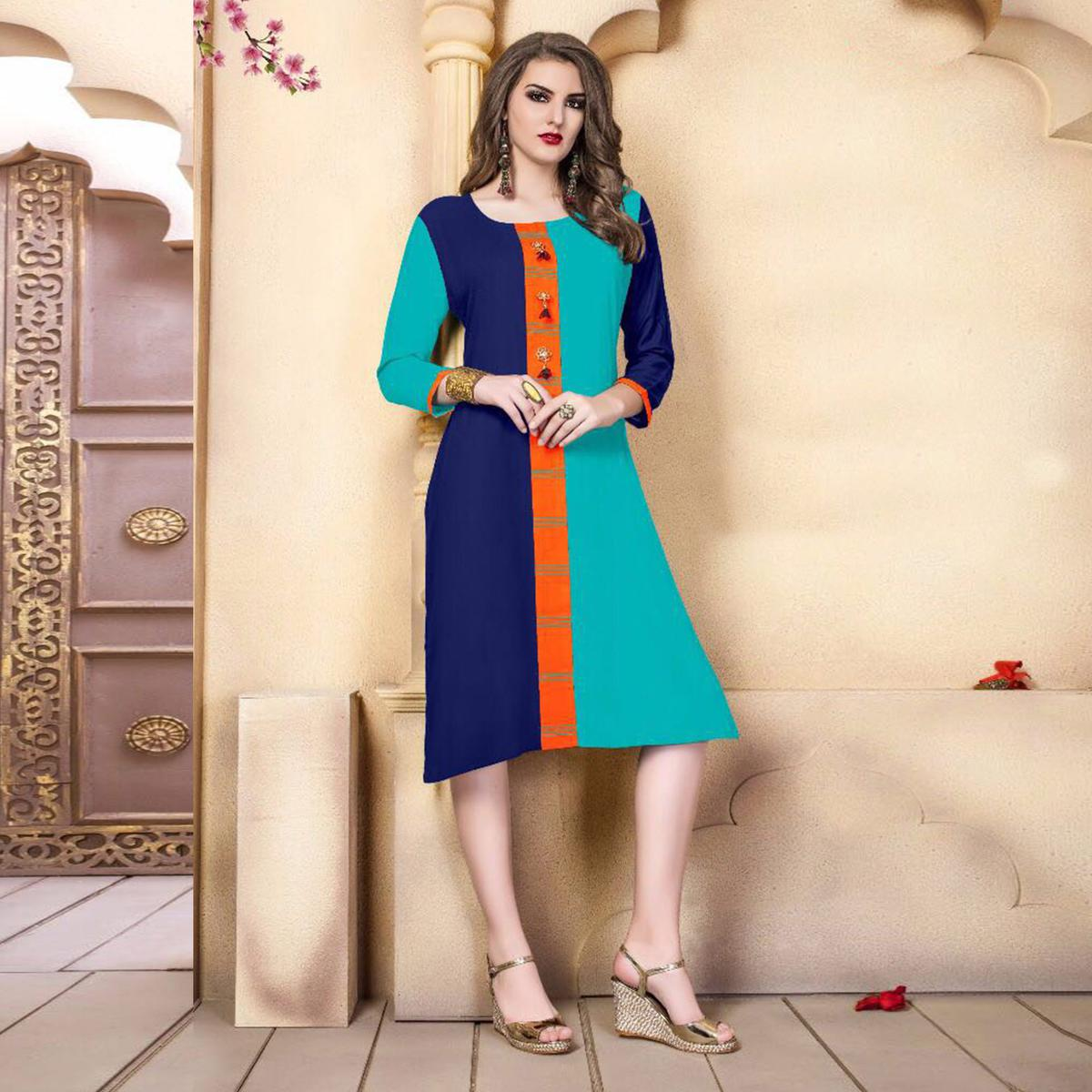Green-Blue Designer Casual Wear Pure Rayon Cotton Kurti