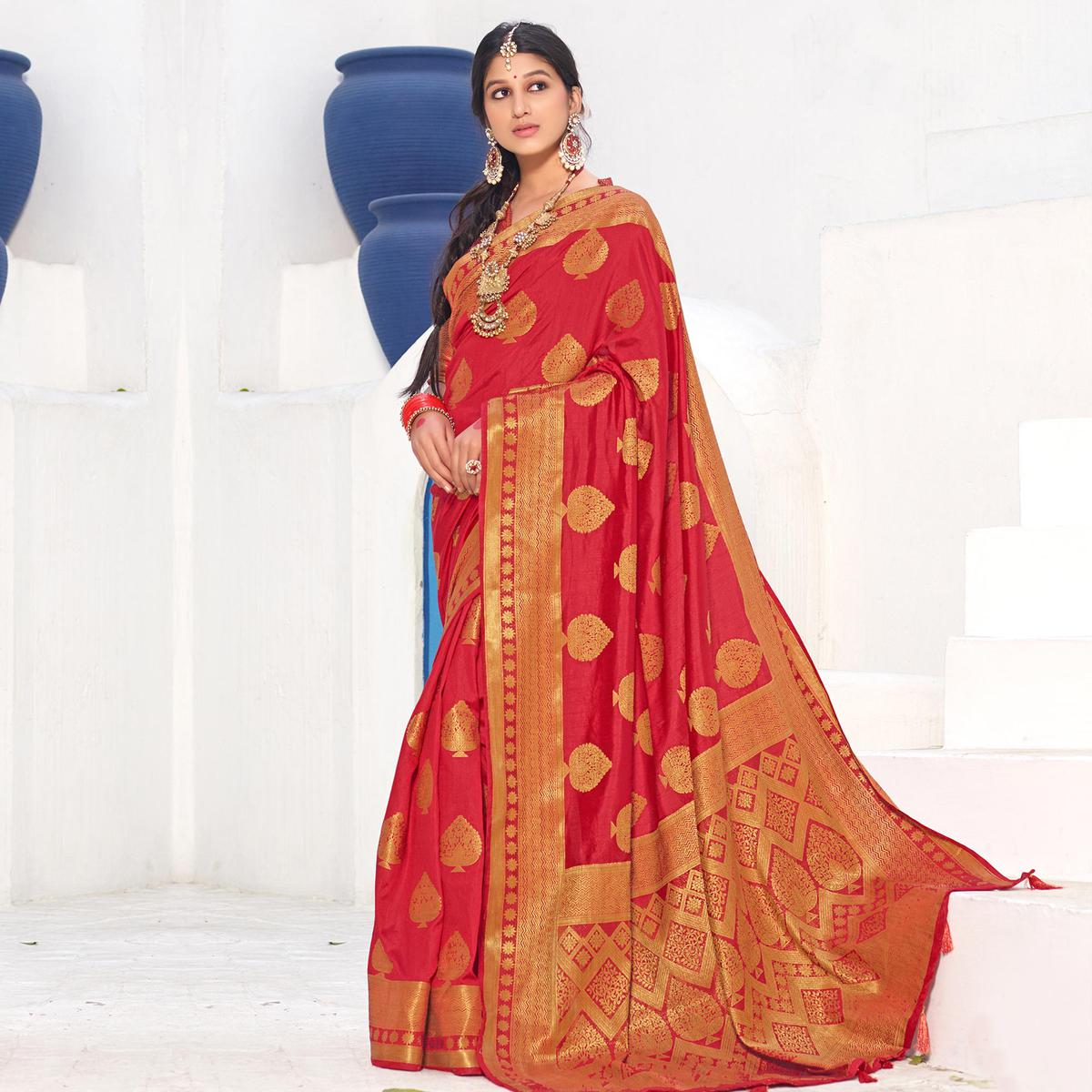 Appealing Red Colored Festive Wear Woven Silk Saree With Tassels