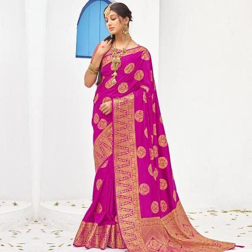 Capricious Pink Colored Festive Wear Woven Silk Saree With Tassels