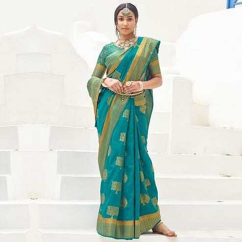 Entrancing Rama Blue Colored Festive Wear Woven Silk Saree With Tassels