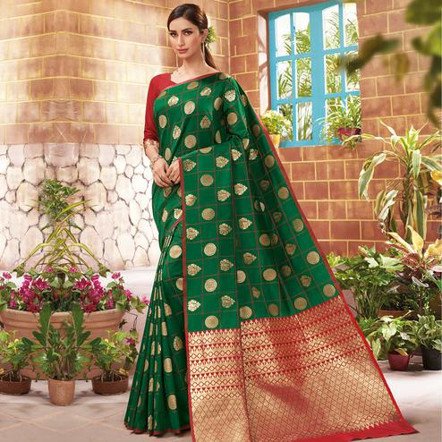 Elegant Green Colored Festive Wear Woven Silk Saree