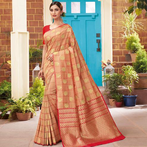 Radiant Peach Colored Festive Wear Woven Silk Saree