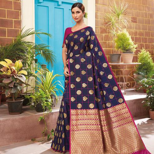 Pleasant Navy Blue Colored Festive Wear Woven Silk Saree