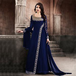 Mesmerising Blue Designer Partywear Embroidered Faux Georgette Anarkali Suit